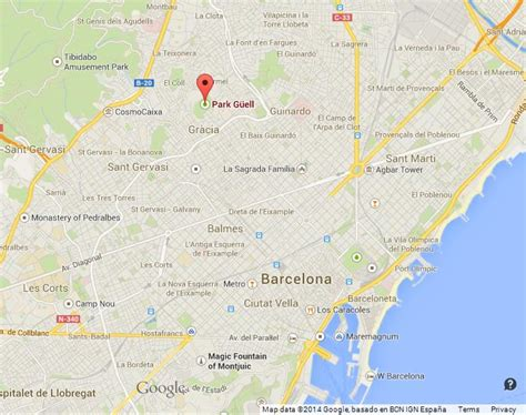 Park Guell on Map of Barcelona World Easy Guides