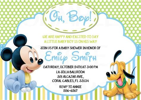 Disney Baby Mickey Mouse Inspired Baby Shower Or Birthday Free Disney Baby Shower Invitation Templates