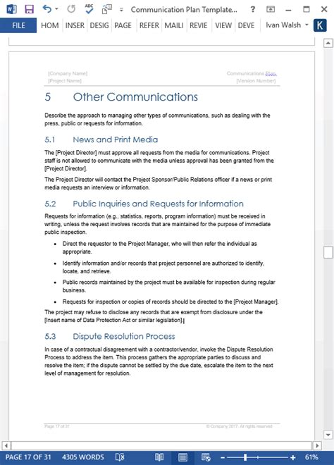 Communication Plan Templates Download Ms Word And Excel Spreadsheets Communications Plan Template Word