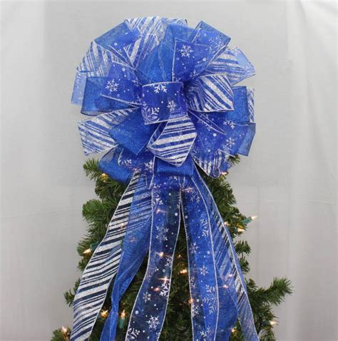 blue christmas tree bows royal blue silver snowflake tree topper bow 13 quot diameter package bows