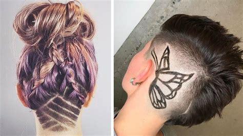 hair tattoo for girl undercut hair nape shave cut