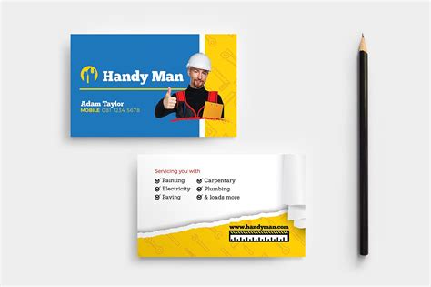 Handyman Buisness Card Templates by 14 Construction Business Card Designs And Exles Psd Ai