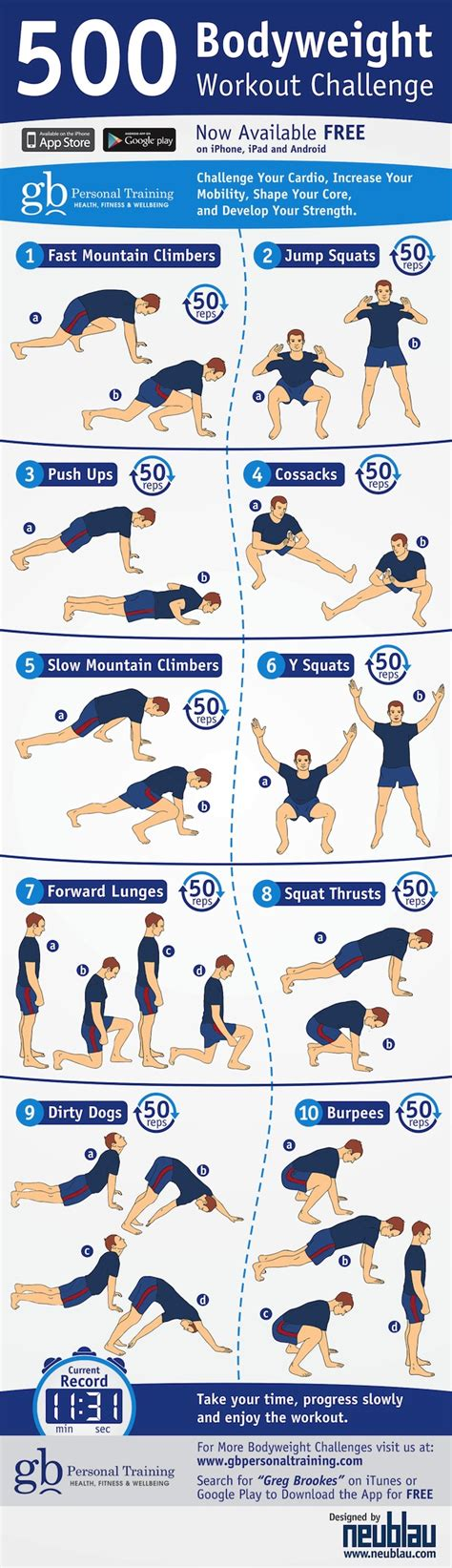 500 bodyweight challenge infographic