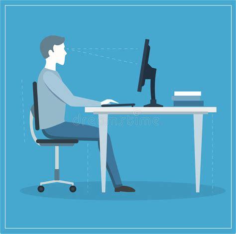 postura seduta corretta posizione di seduta corretta al computer vettore