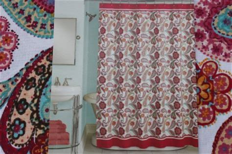 peri quot boho paisley quot fabric floral shower curtain pink