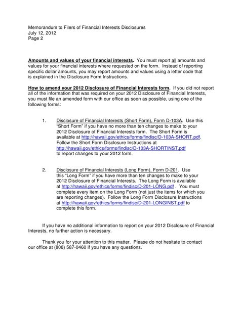 Financial Disclosure Letter 2012 memo to filers of financial disclosure statements