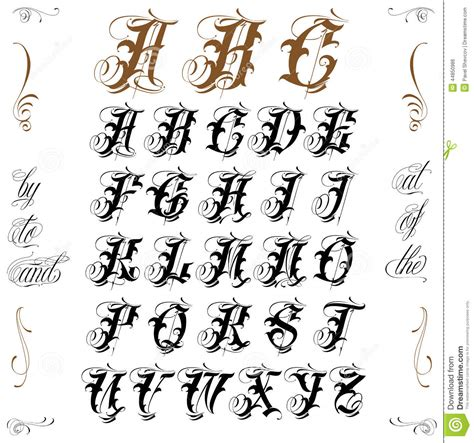 old english tattoo letters lettering stock vector image of italics