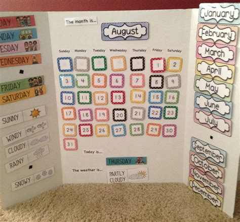 Calendar Board For Kindergarten Learning Centers For Home School