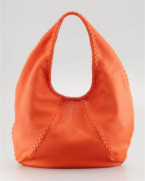 Bottega Venetta Cevro Oranye bottega veneta cervo large hobo bag tangerine in orange