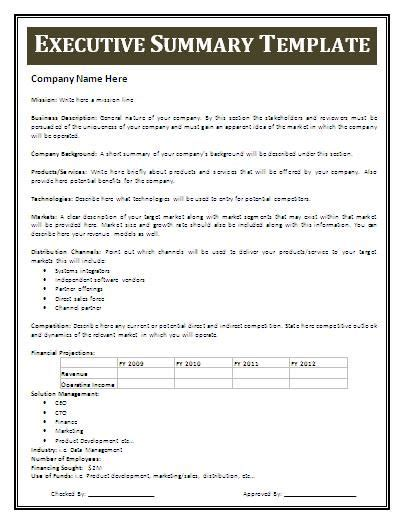executive business plan template exles of an executive summary executive summary