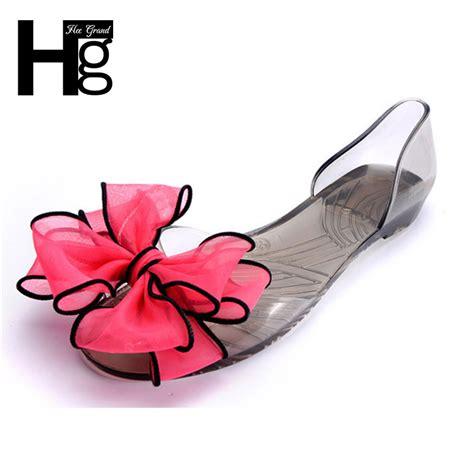 Big Ribbon Shoes Murah Meriah hee grand sweet jelly summer s sandals peep toe big ribbon bowtie knot transparent