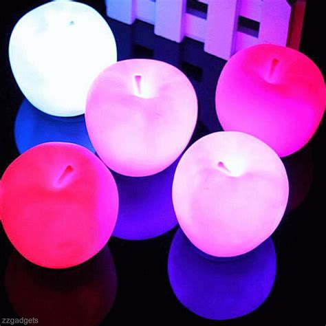 Changed 7 Colors Apple L apple shape color changing led l light new year decor ebay