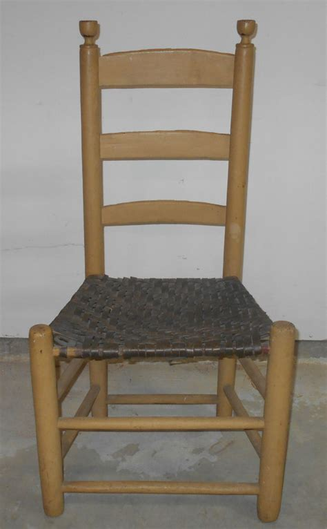 Antique Ladder Back Chairs With Seats by Antique Primitive Ladder Back Chair With Mustard Paint Ebay