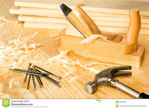 woodworking on carpentery variety of woodwork tools royalty free stock
