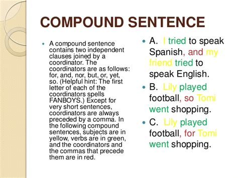 Resume Definition And Sentence Compound Sentence Exles Alisen Berde