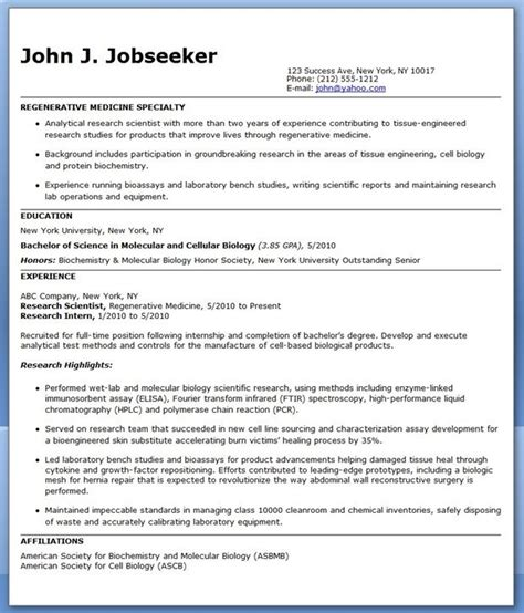 Cover Letter For Biochemist Position by Resume Biochemistry Phd