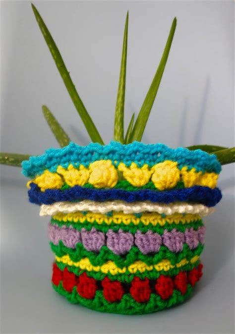 easy crochet flower pot plant cover ideas diy
