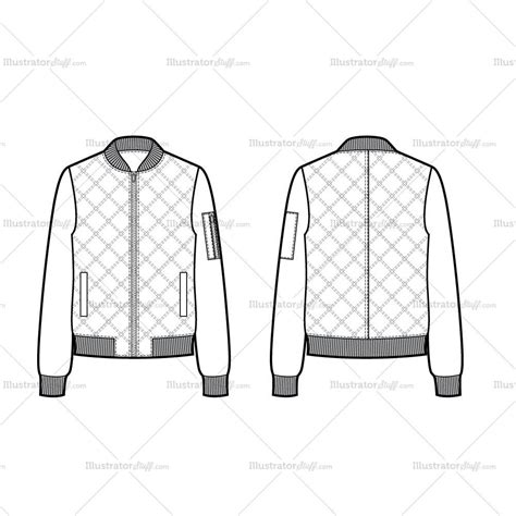 quilted bomber jacket flat template illustrator stuff