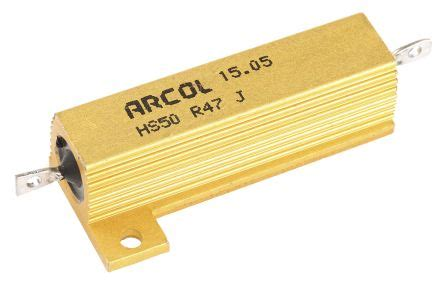 rs components wire wound resistor hs50 r47 j arcol hs50 series aluminium housed axial wire wound panel mount resistor 470mω 177 5