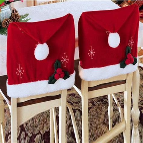santa claus hat chair back covers christmas decor dinner