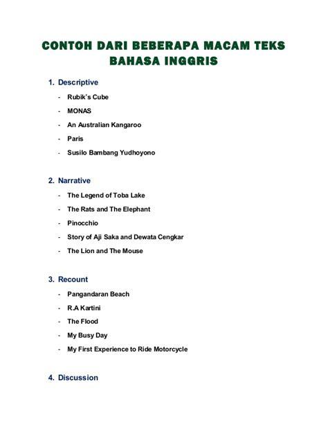 contoh biografi guru dalam bahasa inggris beberapa macam teks dalam bahasa inggris beserta terjemahannya