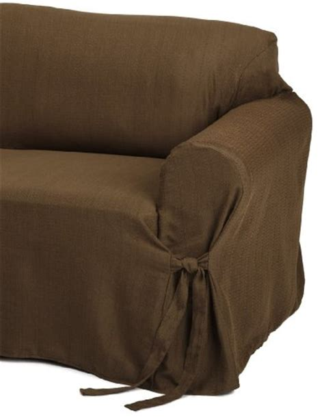 Brown Sofa Slipcover Heavy Duty Jacquard Fabric Solid Chocolate Brown