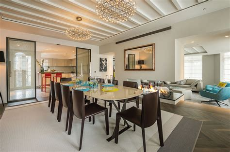 open plan dining room lighting rug penthouse apartment