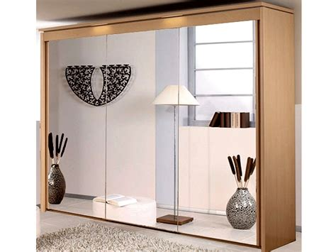 Mirrored Sliding Door Wardrobe by New York 3 Door 3 Mirror Sliding Door Wardrobe In Beech