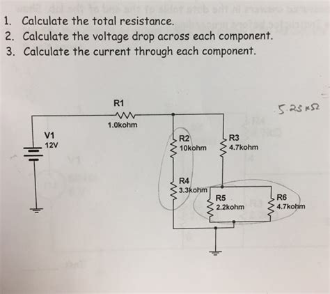 voltage drop across each resistor calculate the total resistance calculate the volt chegg
