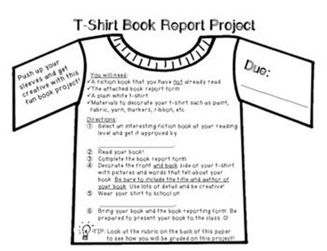 t shirt book report ideas t shirt book report project rubric set