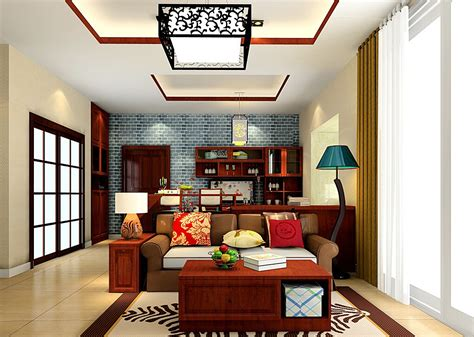 Pic Of Interior Design Home Chinese Style Ceiling Lights And Brick Wall