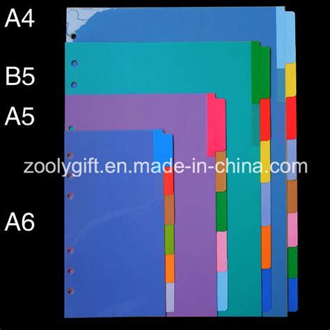 color dividers china pp index dividers assorted color plastic index