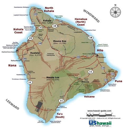 printable road map of big island hawaii big island of hawaii maps