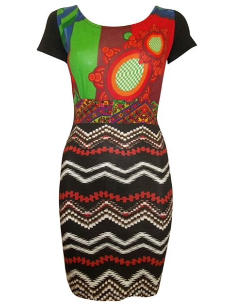Desigual aztec print bodycon dress patchwork size 8 10 ebay