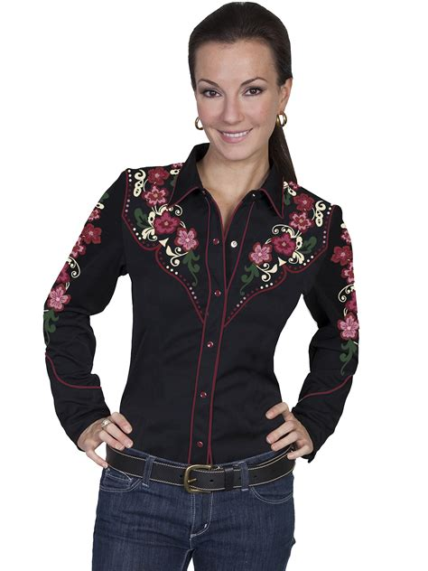 Wst 14197 Black Embroidered Blouse womens embroidered western shirt country bloom