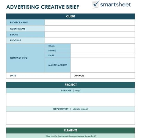 visual communication design brief template free creative brief templates smartsheet