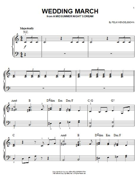 Wedding Song Piano Notes by Wedding March Sheet By Felix Mendelssohn Easy Piano