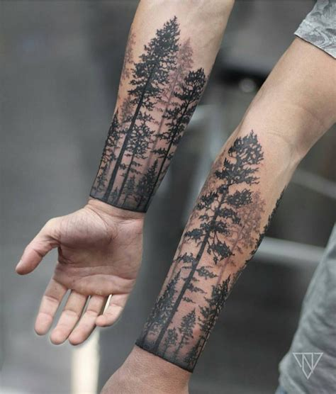 tree sleeve tattoos forrest cuff by niko vaa tattoos on