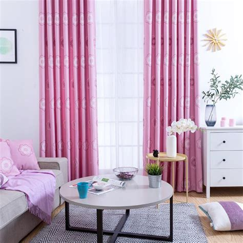 unique curtains for living room pink floral embroidery linen and velvet unique curtains