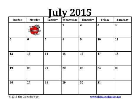 printable weekly calendar july 2015 8 best images of july printable calendars 2015 printable