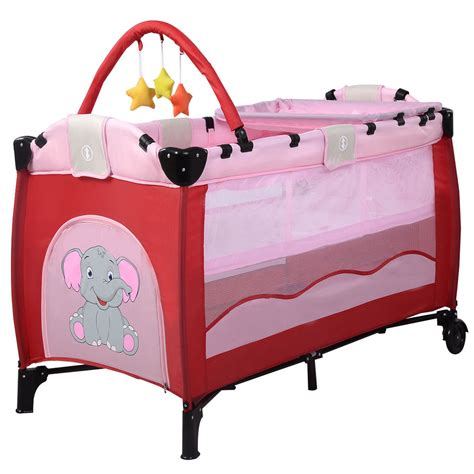 Infant Baby Travel Cot Bed Play Pen Child Bassinet Playpen 2 In 1 Crib Mattress