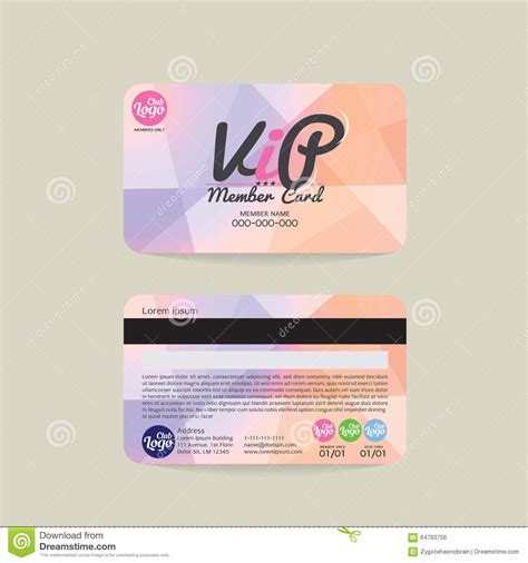 card template with front and back front and back vip member card template stock vector