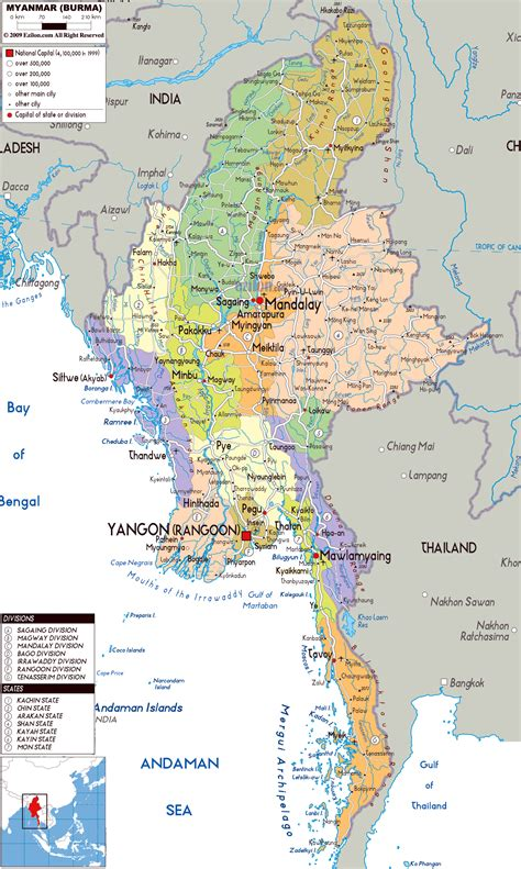 where is myanmar on the map large political and administrative map of myanmar with