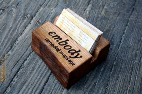 Handmade Office Gifts - personalized business card holder rustic wood fathers