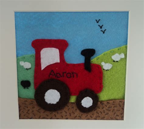 felt tractor pattern a felt box frame for a boy red and rosy