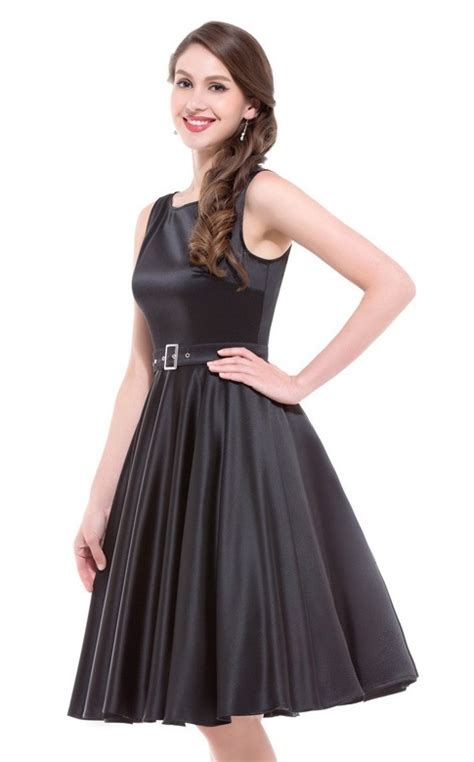satin swing dress audrey black satin swing dress 1950sglam