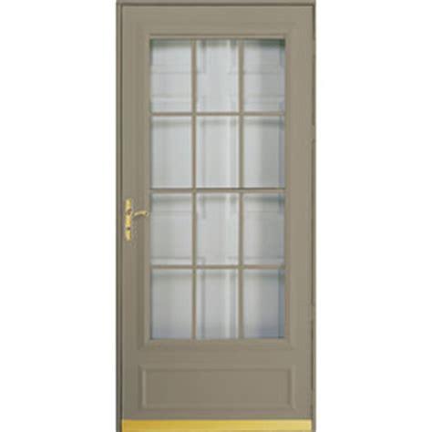 Pella Retractable Screen Door by Shop Pella Cheyenne Putty Mid View Safety Retractable
