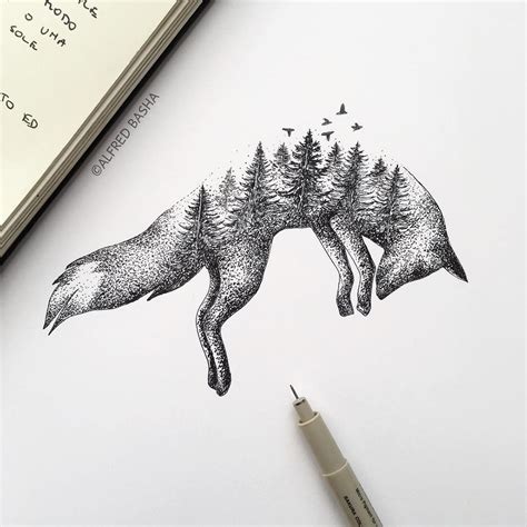 animal tattoo pen new pen ink depictions of trees sprouting into animals