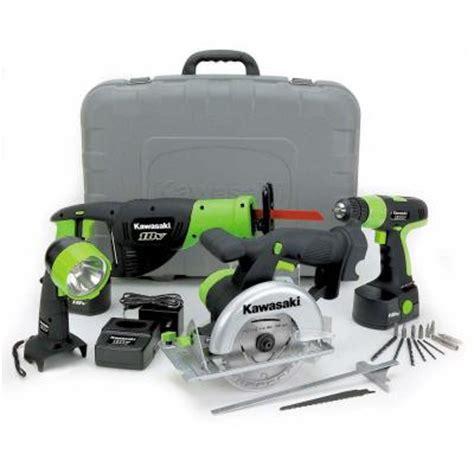 kawasaki 18 volt nicad cordless power tool kit 4 tool