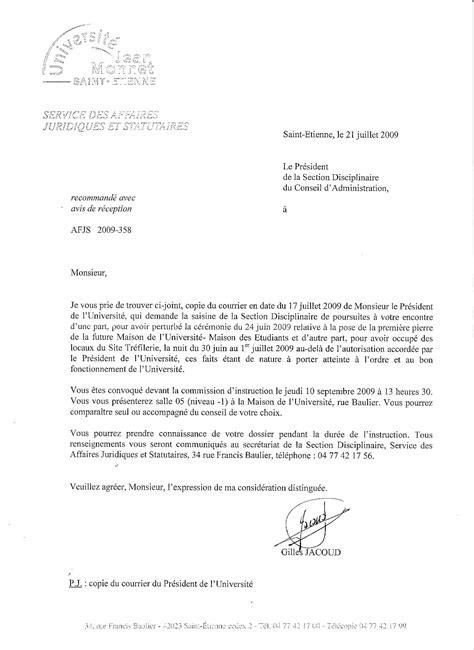 Mod Le Lettre De Pr Sentation Adjointe Administrative Juillet Septembre 2009 R 233 Pression 224 L Universit 233 De Etienne Contre 9 233 Tudiants Gr 233 Vistes